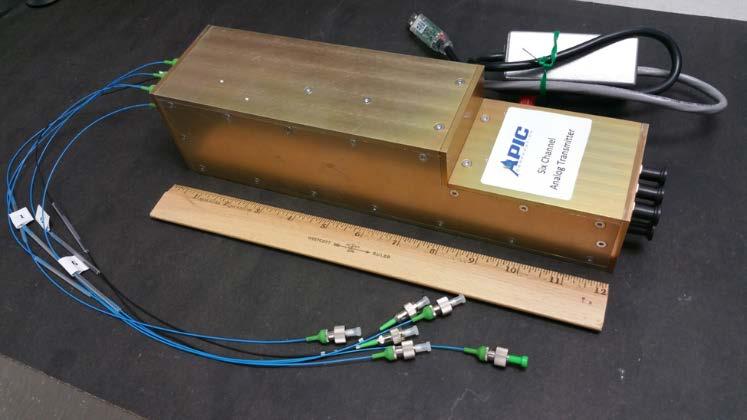 APIC Corporation's custom designed 6-Channel 20 GHz Analog Transmitter